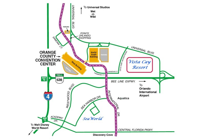 Map of Vista Cay Resort Orange County Convention Center