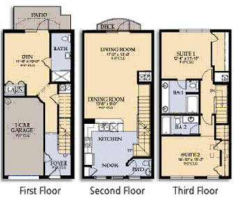 Floor Plan for Cool Breezes  Town home at Vista Cay